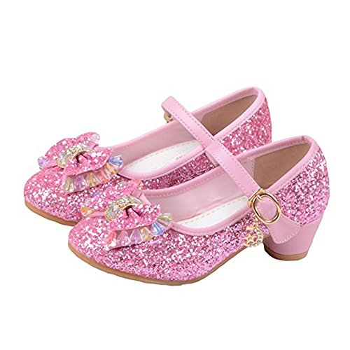 YING LAN Girl's Princess Cosplay Performance Shoes Sequins Dress Shoes Low Heeled Pink 28