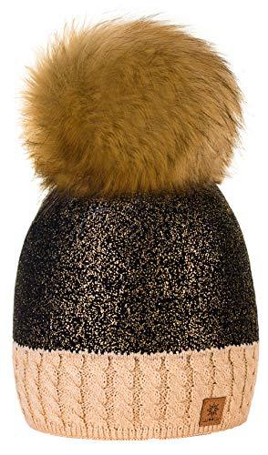 4sold Winter Autunno Inverno Cappello più Grande Pelliccia Pom Pom Invernale di Lana Berretto delle Signore delle Donne Beanie Hat Pera Sci Snowboard di Moda (Beige)