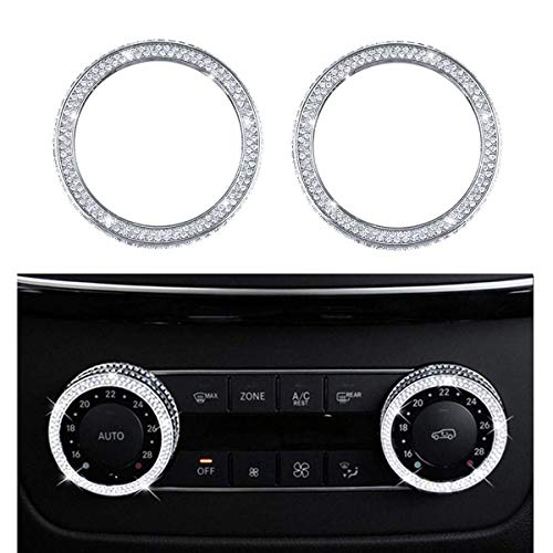 Pursuestar Bling Bling Crystal Air Conditioner Control Switch Knob Regulator Caps Diamond Cover Decals Decorations Trim for Mercedes-Benz C GLS GLK GLE CLS SLC W204 X166 W218 R172