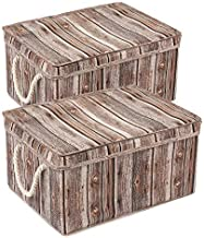 MaidMAX Lidded Basket, Fabric Storage Bins with Lids & Handles for Closet, Bedroom, Living, Nursery Room, Decorative Wood Grain Finish, Set of 2