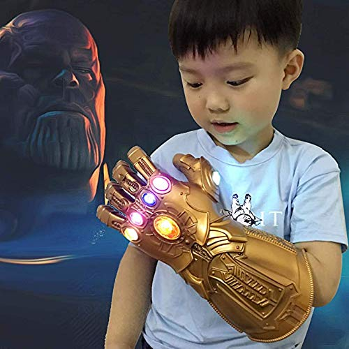 Vercico Thanos Infinity Guanto per Cosplay, Marvel Heroes Infinity, 6 LED luminosi gemme guanto PVC Materia