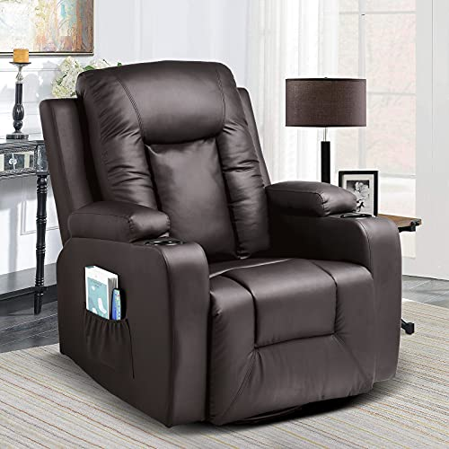 Comhoma Leather Recliner Chair Modern Rocker with Heated Massage for Living Room