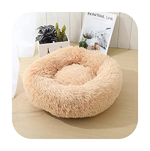 Peddy - Cama para perro con perrera redonda, saco de dormir, para casa de gato, para invierno, cálido, cesta de sofá para perros pequeños, medianos, grandes, champán, diámetro XL, 80 cm