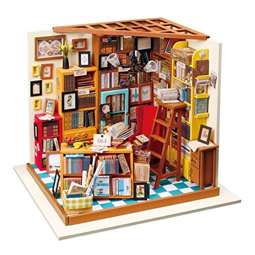 Somedays Puppenhaus Bausatz Holz Modell Set Möbliert Zimmer, Selbermachen Basteln Konstruktion Bau Kit Spielzeug Für Kinder, Mini Diorama Handgefertigt Mit Licht Und Zubehör Blume