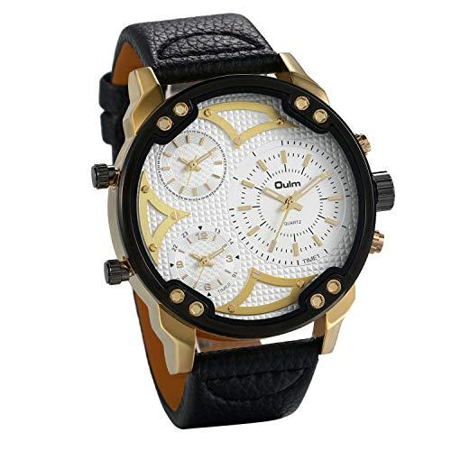 Lancardo Herren-Armbanduhr, Quarz, mit drei Zeitzonen, PU-Armband, mechanisch, wasserdicht, für Herren, Weiß