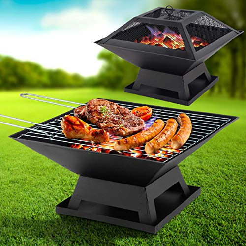 Green Habitats GH028 Square Fire Pit and BBQ Grill Outdoor Firepit Brazier Stove Patio Heater-for Camping, Picnics or Garden, Black