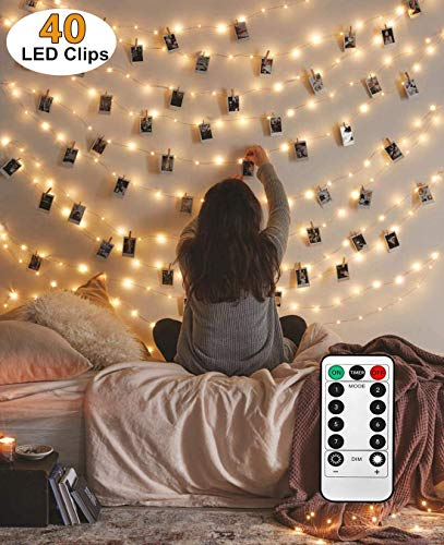 Nurkoo LED Fotoclips Lichterkette, 6 Meter 40 Foto-Clips 8 Modi Mit fernbedienung USB oder Batteriebetrieben Foto Stimmungsbeleuchtung, Dekoration für Zimmer, Weihnachten, Hochzeiten, Party-Warmweiß