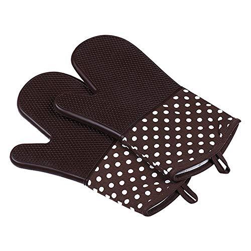Guantes de silicona para horno, guantes para hornear resistentes al calor, guantes para horno impermeables, flexibles y seguros, forro de algodón acolchado para cocinar, hornear y barbacoa, 1 par