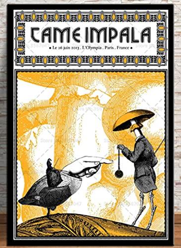 shjklb Rompecabezas 1000 Piezas Tame Impala Trippy Psychedelic Music Star Poster Art para cartón Juguetes para Adultos Descompresión Gam (38x26cm)