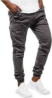 beautyjourney Pantalones de Jogging Ajustados para Hombre Pantalones Cargo Deportivos Pantalones Largos Casuales de Color Liso Pantalones de ch/ándal Pantalones el/ásticos de Fitness para Correr