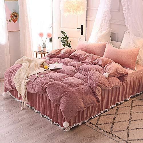 Geekcook Bedding Sets King,Pure Color Winter Set Warm Flannel Cute Rabbit Cashmere Crystal Velvet lace Bed Skirt Four-Piece Suit-Bean Paste_2m Bed (220240 Duvet Cover)