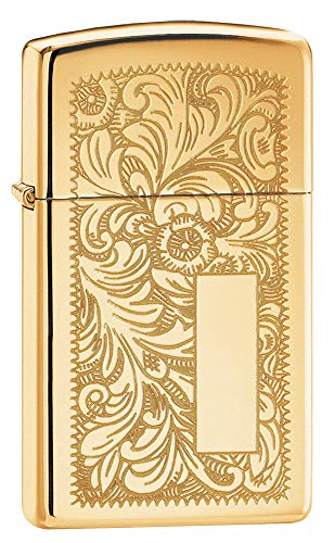 Zippo Venetian Slim High Polish Brass Pocket Lighter