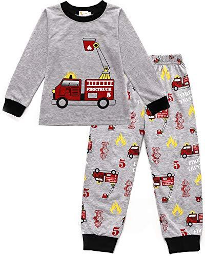 MOLYHUA Baby Jungen Feuerwehr Schlafanzug Lange Pyjama Top und Hosen für Kinder Zweiteiliger Nachtwäsche 92 98 104 110 116 122