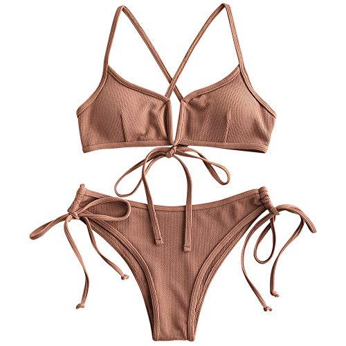 ZAFUL Women's V-Wire Padded Ribbed High Cut Cami Bikini Set Two Piece Swimsuit (Wj-Brown, M)
