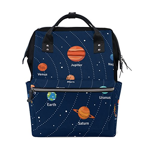 Coosun éducatif Système solaire orbites et planètes Sac à langer Sac à dos, DE Grande capacité Muti-function Sac à dos de voyage