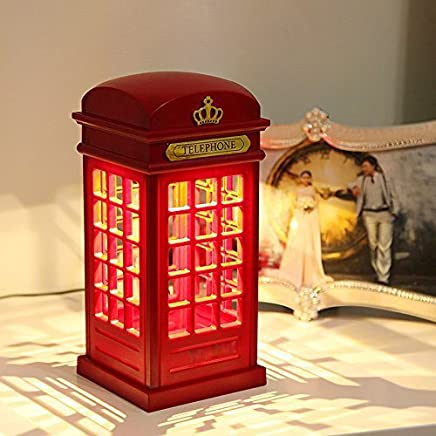 Royare Vintage Dimmable LED Touch USB Booth Charging Night Light London Telephone Table Desk Light