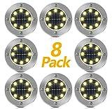 Solar Bodenleuchten, Vivbel 8 Stück 8 LEDs Solarleuchten Garten Solar Gartenleuchten Solarlampen...