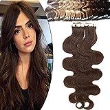 Rich Choices Extension Adhesive Cheveux Naturel 40 Pcs 100g - Rajout Vrai Cheveux Humain Bande Adhesive Ondulé - #04 Châtain - 55 cm (40 Unité)