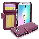 Cadorabo Funda Libro para Samsung Galaxy S6 en Burdeos Violeta - Cubierta Proteccíon con Cierre Magnético e 3 Tarjeteros - Etui Case Cover Carcasa