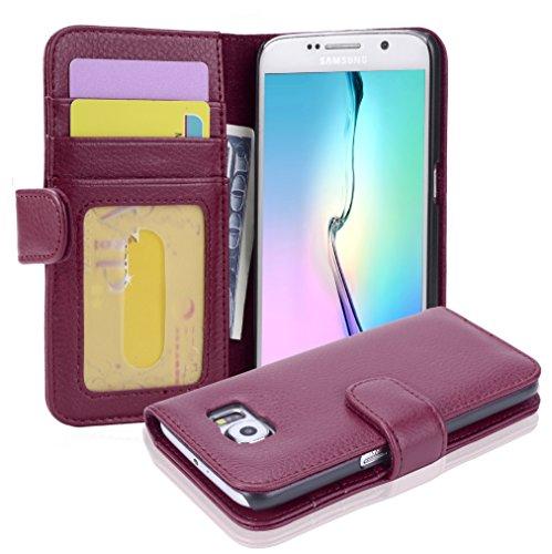 Cadorabo Hülle für Samsung Galaxy S6 in Bordeaux LILA – Handyhülle mit Magnetverschluss und 3 Kartenfächern – Case Cover Schutzhülle Etui Tasche Book Klapp Style
