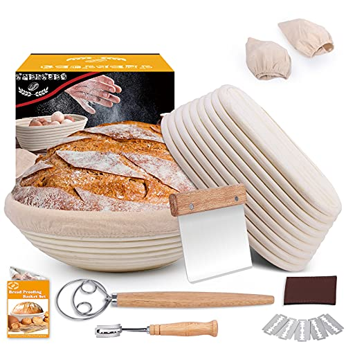 Bread Banneton Proofing Basket Set, 10 Inch Round & 9.6 Inch Oval Bread Proofing Basket Natural Rattan Banneton for Sourdough with Dough Whisk + Dough Scraper + Bread Lame + Cloth Liner
