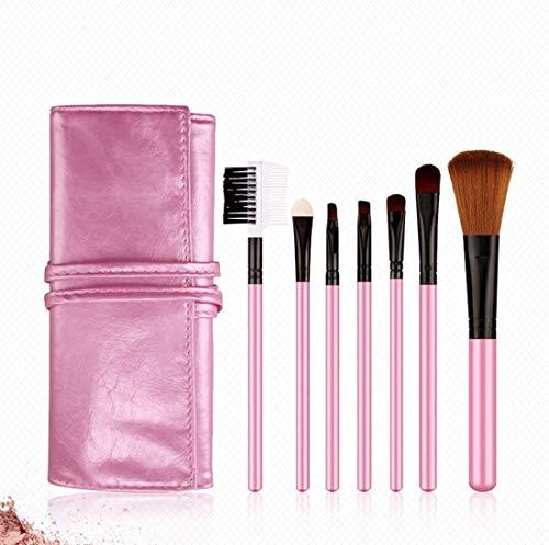 XHDMJ Beauty Tools Makeup Brush Set, 7 Advanced Synthetic Makeup Tools, with Storage Bag Pink