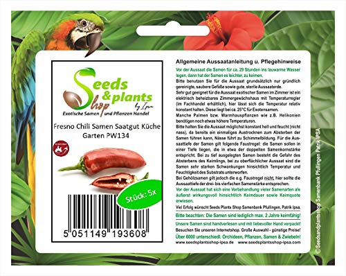 Stk - 5x Fresno Chili Samen Saatgut Küche Garten PW134 - Seeds Plants Shop Samenbank Pfullingen Patrik Ipsa