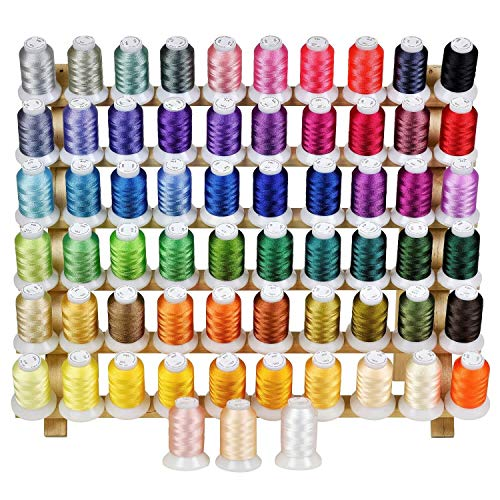 ThreadNanny 63 Colors Premium Polyester Machine Embroidery Thread Set 1100 Yards Each Spool - Compatible with Brother Babylock Singer Janome All Home Embroidery and Sewing Machines