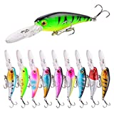 Aorace 10pcs/lot 7.28g/9cm 3D Fishing Eyes Laser Line Hard Minnow Baits Life-Like Swimbait Fishing Lures Bass Crankbait Tackle for Pikes/Bass/Trout/Walleye/Redfish