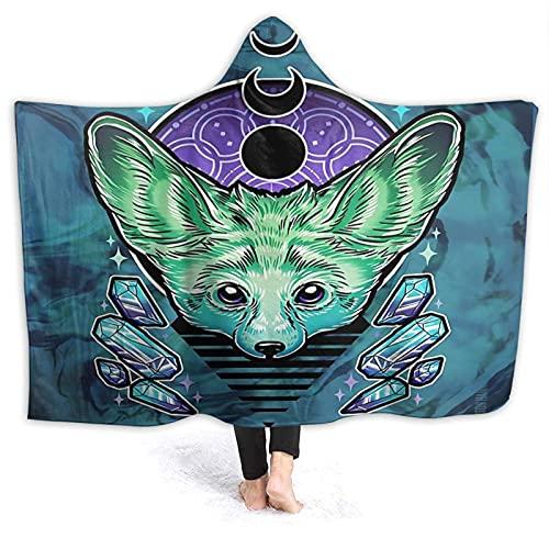 Yaxinduobao Hooded Manta Throw Fennec Super Soft Sherpa Fleece Manta Hood Poncho Cloak Cape
