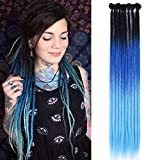Synthetic Dreadlock Extensions Handmade Crochet Hair Reggae Hair 22inch 10 Strands Hip-Hop Style Dread Extensions Crochet Braids For Rock&Roll Hippie Dreadlocks Hair(Black Ombre Blue)