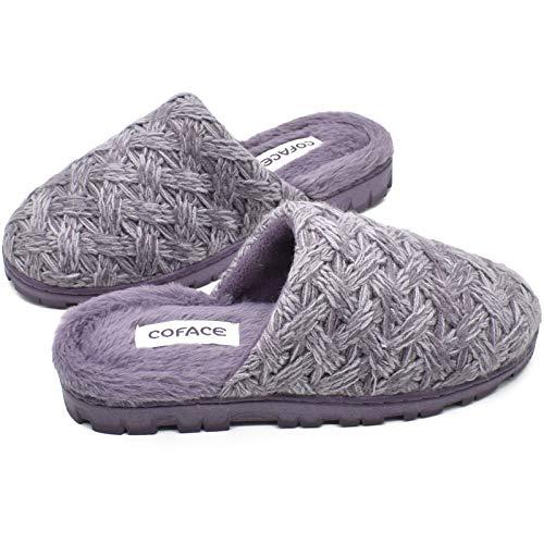 COFACE Zapatillas De casa para Mujer Invierno Pantuflas de Forro de Felpa Cálidas de Punto de Lana Zapatos de Espuma Viscoelástica de Alta Densidad con Suela de Goma Antideslizante Talla 36