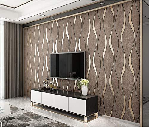 Modern Vliestapete Wandwelt Mustertapete Umweltschutz Kräuselung des Wassers 3D, die Wellenmuster Beflockung tapete für Schlafzimmer Wohnzimmer TV Hintergrund Hotel 0,53 * 9.5m (5,0m2) Dunkelbraun