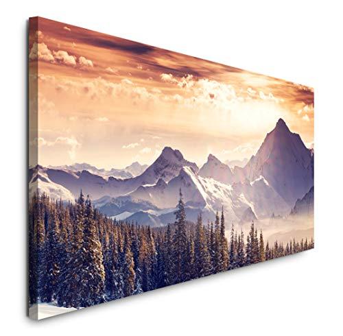 Paul Sinus Art GmbH Landschaft Alpen 120x 50cm Panorama Leinwand Bild XXL Format Wandbilder Wohnzimmer Wohnung Deko Kunstdrucke