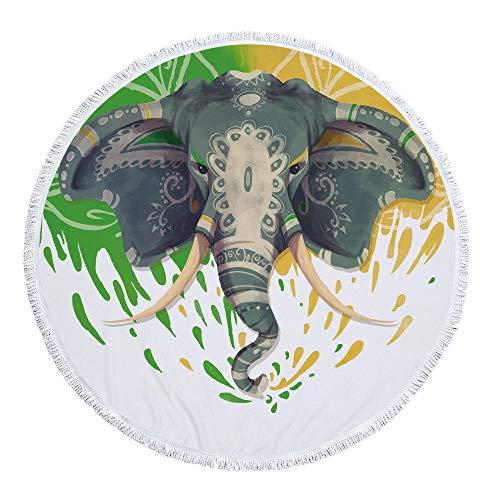 WSKMHK Ronda de Microfibra Toalla de Playa,patrón Pintado Animales Elefante Grande, rodeadas de Tejido Estampado y Estilo Bohemio cojín Piscina Toalla Estera del Yoga psicodélico Hippie
