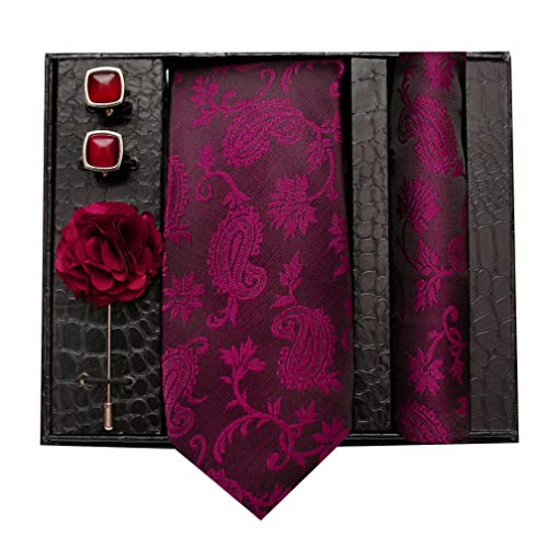 nu-Lite Formal/Casual Printed Polyester Necktie Set with Pocket Square, Lapel Pin and Cufflinks for Men (Free Size, Purple)