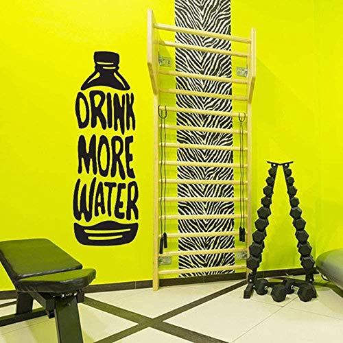 Etiqueta de la botella de agua Beber más Water Fitness Motivación Vinilo Etiqueta de la pared Gimnasio Decoración de la pared Niño Hombre Cueva Decoración de la habitación 42X122 Cm