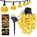 Glob Bulb Led Solar String Lights, 36Ft ?1inch 60 LED 8 Modes Fairy Light Garden Outdoor Waterproof Solar Powered Lights with Crystal Ball Decorative for Patio, Lawn, Porch, Gazebo, Bistro