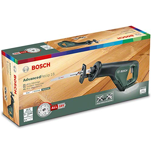 Bosch 06033B2400 Cordless Reciprocating Saw AdvancedRecip 18 (Without Battery, in Cardboard Box), 18 V