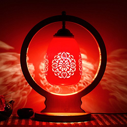 motes uvar Dormitorio con bombilla caliente retro–Mode regalo de boda real claro rojos de boda lámpara Nueva, rote chrysanthemen tropfendes wasser,button wechseln, bambus - runde.