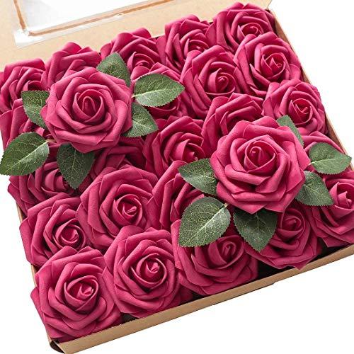 Msrlassn Künstliche Rosen Blumen Schaumrosen Foamrosen Kunstblumen Rosenköpfe Gefälschte Kunstrose Rose DIY Hochzeit Blumensträuße Braut Zuhause Dekoration (Rose, 25 Stück)