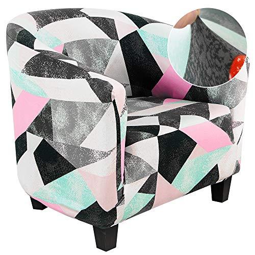 Cysincos Sesselhusse Stretch Cocktailsessel Hussen, Sesselschoner Couch Überwurf Sesselbezug Sesselüberwurf elastisch Sessel Überzug Elch Weihnachten Muster für Cafe Loungesessel (Gitter-Rosa)