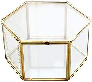 Monbedos Boîte à bijoux hexagonale en verre - Portable - Boîte de rangement pour boucles d'oreilles - Convient pour le ran...