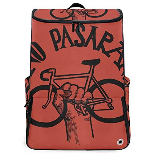 YUDILINSA Viaje Mochila,Movimiento político sin bicicletas Pasaran Vintage,Universitaria Mochila,Laptop Backpack con Compartimento para zapatos