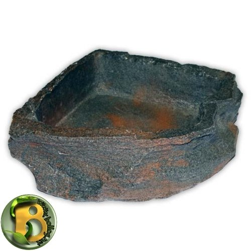 Dragon - Wasserschale - Futternapf - Eckfelsschale Large, Granite Rock 1500ml 24x24x6cm