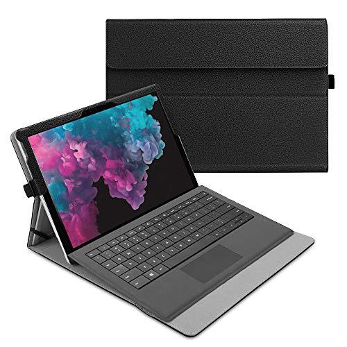 Fintie Hülle für Microsoft Surface Pro 7/ Pro 6/ Pro 5/ Pro 4/ Pro 3 12,3 Zoll Tablet - Multi-Sichtwinkel Hochwertige Tasche Schutzhülle aus Kunstleder, Type Cover kompatibel, Schwarz