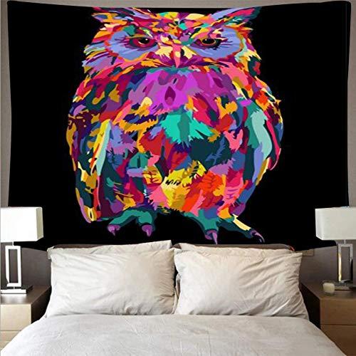 N/A Tapiz De Impresión 3D Tapiz De Búho Colorido Telón De Fondo Negro Decoración del Hogar Tapiz Mandala Tapiz Tapiz De Pared Tapices Regalos De Decoración del Hogar