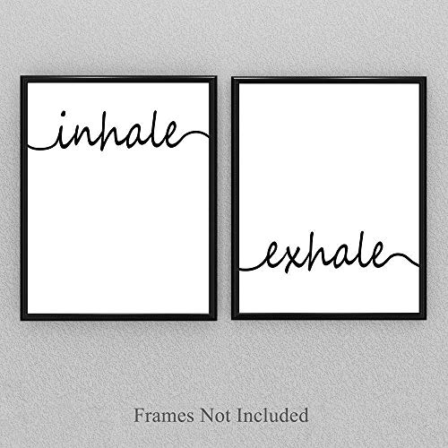 Inhale Exhale - Set of Two 11x14 Unframed Prints - Great Gift and Decor for Bathroom and Bedroom Under $20