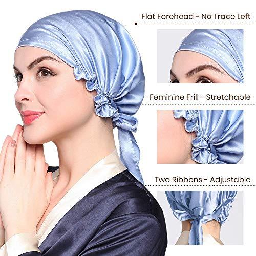 LilySilk Light Blue Womens Silk Night Cap- for Hair Stretchy Adjustable Large 100 Real Silk Bonnet Sleep Cap- for Curls