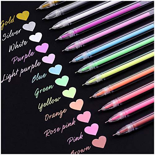 Dyvicl Highlight Color Pen 0.5 mm Extra Fine Point Pens Gel Ink Pens for Black Paper Drawing, Sketching, Illustration, Adult Coloring, Bullet Journaling, Set of 12